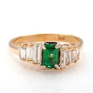 EMERALD COLOMBIAN VSG DIAMOND 14K YELLOW GOLD RING